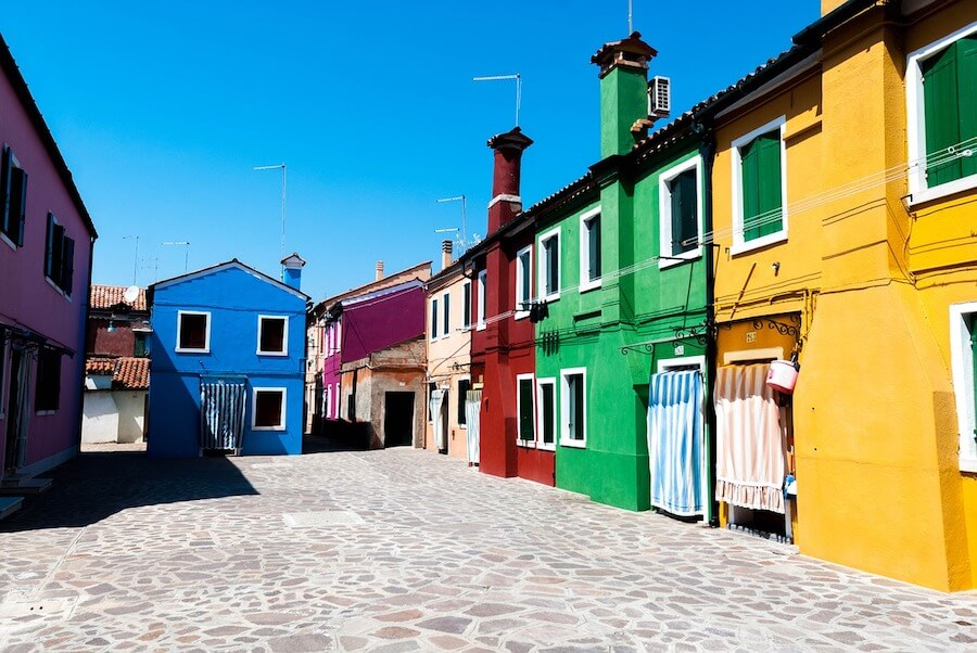 The colourful houses of Burano Island in Venice, Italy.