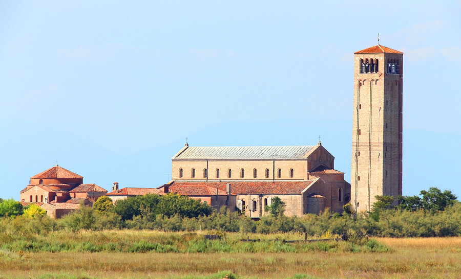 The tower on Torcello Island in Venice, Italy.